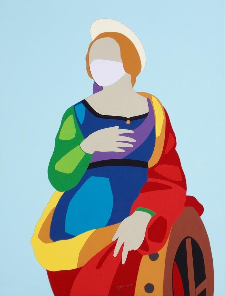 andrea mattiello _Santa Caterina d'Alessandria acrilico e collage su tela cm 35x45
